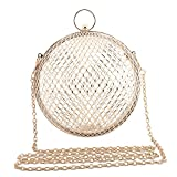 ZAKIA Women' Round Shape Metal Cage Evening Bag Clutch Handbag Wedding Party Purse (Gold)