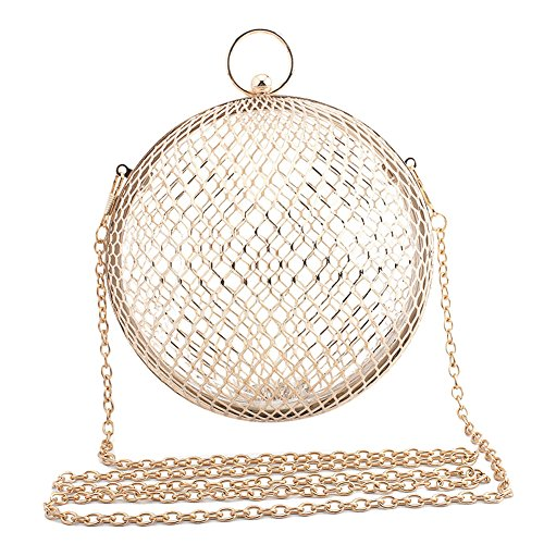 ZAKIA Women' Round Shape Metal Cage Evening Bag Clutch Handbag Wedding Party Purse (Gold) by ZAKIA