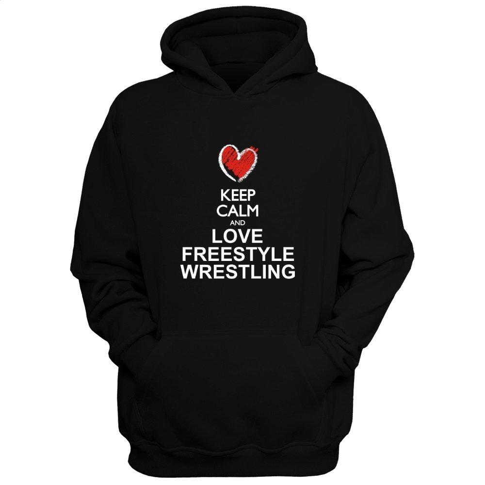 Idakoos Keep Calm and Love Freestyle Wrestling chalk Style - Sports - Hoodie by Idakoos