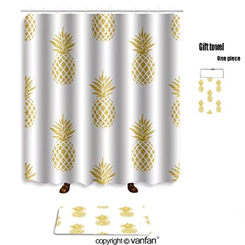 vanfan bath sets with Polyester rugs and shower curtain seamless summer gold pineapple on colored bac shower curtains sets bathroom 69 x 72 inches&23.6 x 15.7 inches(Free 1 towel and 12 hooks)