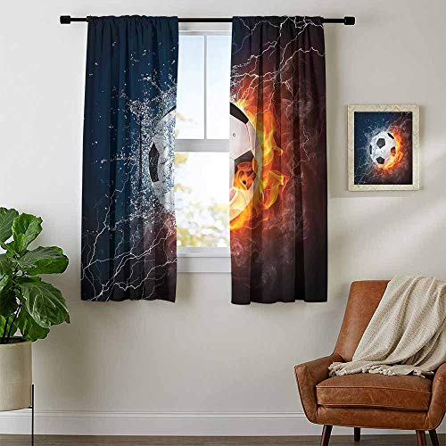 Mozenou Sports Decor, Curtains Darkening Blackout, Soccer Ball on Fire and Water Flame Splashing Thunder Lightning Abstract, Curtains Kids, W63 x L72 Inch ()