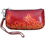 Genuine Leather Wristlet Change Purse, Flowers & Butterflies Pattern, Brown Base