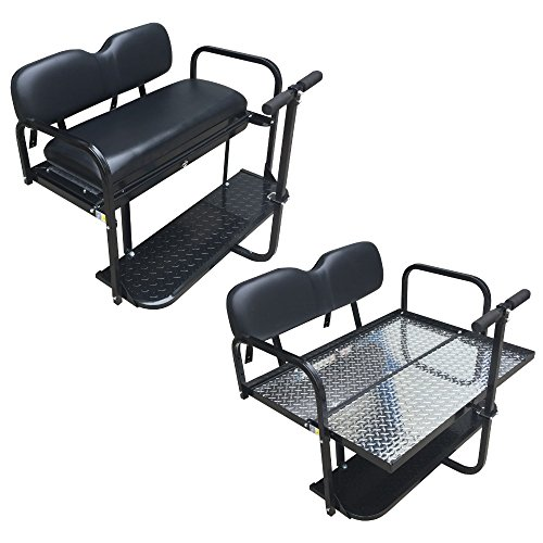 Performance Plus Carts Club Car Precedent Golf Cart Rear Flip Back Seat Kit - Factory Black (Used Yamaha Golf Cart Parts For Sale)