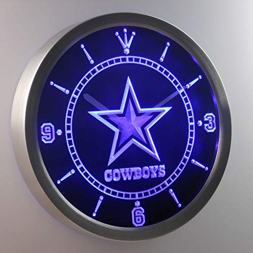 GGBMT Dallas Cowboys Neon Sign LED Wall Clock