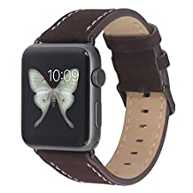 Apple Watch Iwatch 42mm Brown Leather Band Strap, Wellfit Third Party Genuine Nubuck Leather Replacement Wristband with Metal Adapter Clasp Buckle for All Apple Watch 42mm