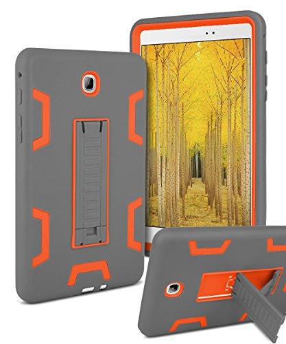 Galaxy Tab A 8.0 Case,TOPSKY[Kickstand Feature]Three Layer Hybrid Heavy Duty Full-Body Shockproof Anti-Slip Protective Case for Samsung Galaxy Tab A 8.0 inch Tablet(SM-T350),Grey/Orange