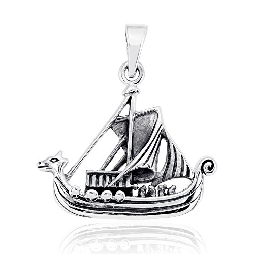 WithLoveSilver Solid 925 Sterling Silver Norse Viking Ship Boat Pendant