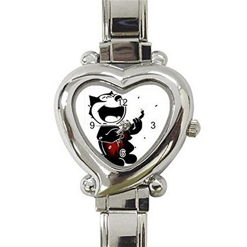 Felix The Cat Custom Design Heart Italian Charm Watch Limited Edition#1