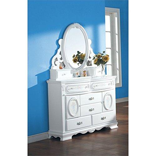 ACME 01664 Flora Jewelry Mirror, White Finish - Flora White Finish