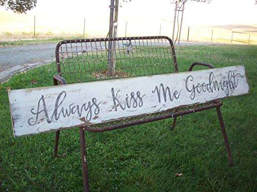 Ruskin352 Always Kiss Me Goodnight Sign Above The Bed Art Cottage Beach Decor