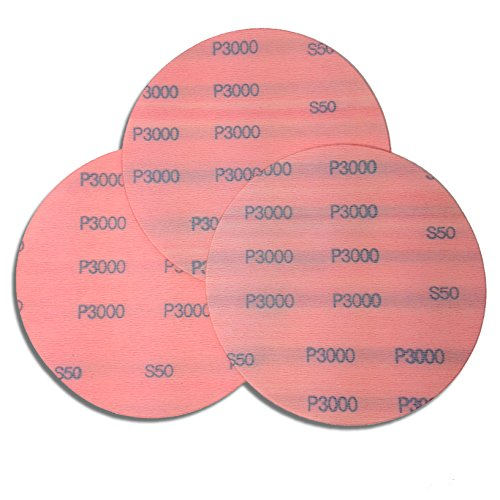 6 Inch 3000 Grit High Performance Hook and Loop Wet/Dry Auto Body Film Sanding Discs, 50 Pack by Red Label Abrasives (Image #1)