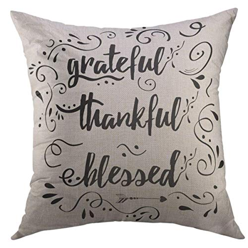 (Mugod Throw Pillow Cover Handwritten Lettering Phrase Grateful Thankful Blessed Decorated Floral Calligraphy Writing Perfect Home Decor Pillow case 18x18 Inch)
