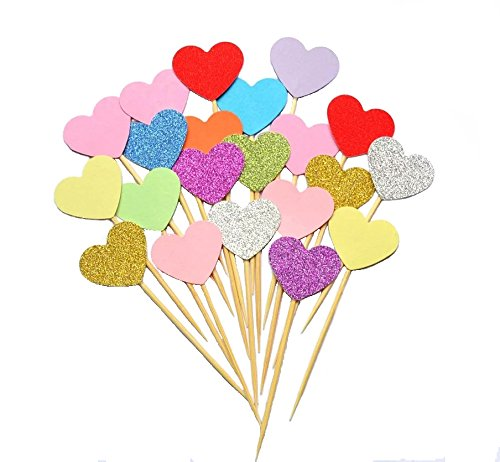 Heart Cakes (50pcs Heart Shape Cupcake Topper Kids Birthday Wedding Party Festive Event Cake Decoration Supplies)