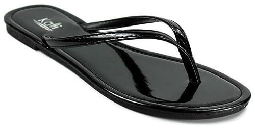 7be2f9790734 Kali Footwear Women s Twins Basic Patent Flat Thong Sandal 6 Black