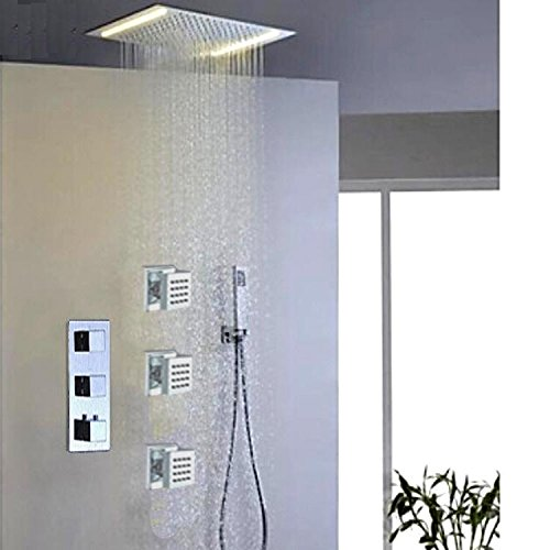 Gowe 360500mm Stainless Steel Chrome Ceiling Rain Big Shower Head And Massage Spray Jets Bathroom Rainfall Shower Set 3