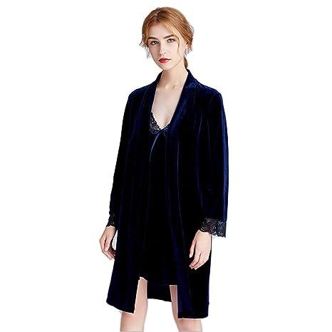 Señoras Robe Terciopelo Dorado Pijama Shawl Towel Baño Abrigo ...