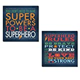 Popular Superhero Rules Set; Nusery or Child's Room Decor; Two 12x12in Prints