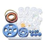 HATCHMATIC FBIL-80Pcs Plastic DIY Robot Gear Kit Gearbox Motor Gear Set for DIY Car Robot: White Blue