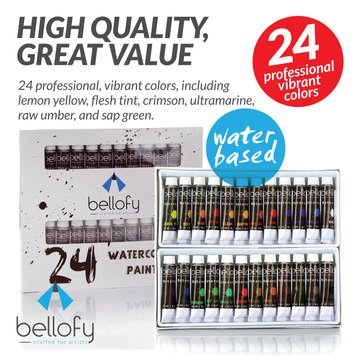 24-Color Watercolor Paint Set - 24 x 12 ml / 0.4 oz - Watercolor Paint Kit For Artists and Beginners - Painting Art - Artist Paint