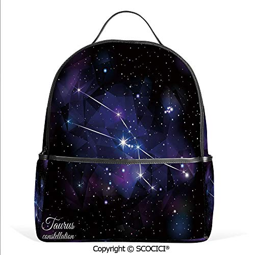 3D Printed Pattern Backpack Zodiac Constellation Star Cluster on Space Galaxy Cosmic Mystic Artsy Design,Indigo Dark Purple,Adorable Funny Personalized Graphics
