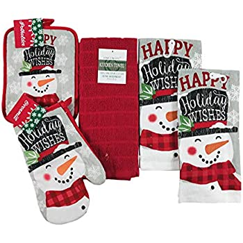 Winter Snowman Kitchen Towel Pot Holder Set: Greeting You with Warm Happy Holiday Wishes, 5 Piece