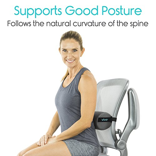 Xtra-Comfort Lumbar Roll - Cushion Support Pillow for Lower Back Pain Relief in Car, Office Chair, Computer - Firm Mesh Thoracic Posture Seat Pad (Gray) by Xtra-Comfort (Image #1)