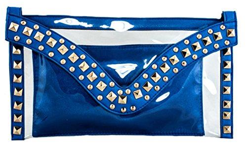 Girly HandBags Nueva Neón Diseñador de moda del Bolso de Embrague del Plexiglás Claro y Fresco Resina PVC Simone Tarde Azul