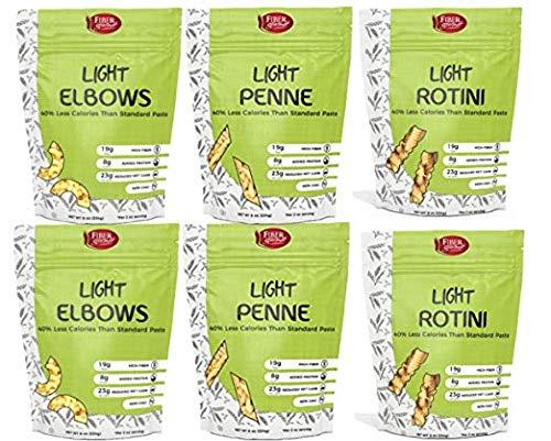 Variety Pack Elbows, Penne, Rotini: Low Calorie, Low Carb Pasta, High Fiber, Healthy Noodle, Low Carb Noodle, Fiber Gourmet Pasta Noodles, Six (6) 8-ounce packages. 2 bags of each shape. Total 6 bags.