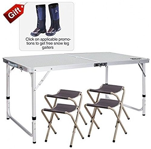 Sedona Bistro - Agordo REDCAMP Outdoor Picnic Table Adjustable, Folding Camping Table With 4 Chairs,