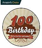 DESPKON-HOME 100Th Birthday Small Round Rug Carpet,Chocolate Wrap Like Brown Party Invitation Hundred Years Celebration Door Mat Indoors Bathroom Mats Non Slip Diameter-59 Inch,Cinnamon and Cream