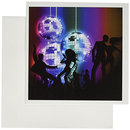 3dRose Funky Retro Disco Ball Dance Party from the 80s - Greeting Cards, 6 x 6 inches, set of 12 (gc_164722_2) (Disco Ball Invitations)