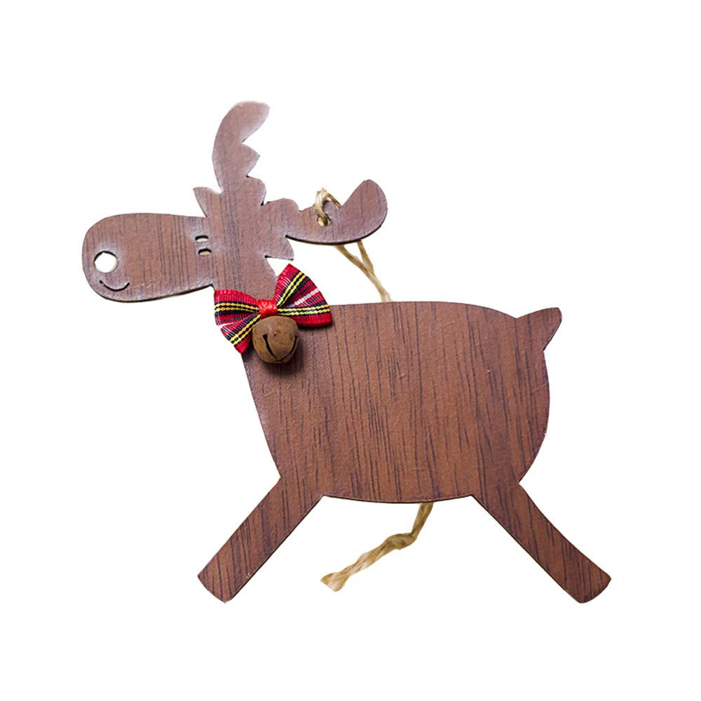 HANANei 1PCS Christmas Deer Wooden Xmas Tree Pendants DIY Ornaments for Christmas Party (C)