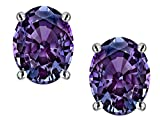 Star K Oval 8x6mm Simulated Alexandrite Earrings Studs Sterling Silver