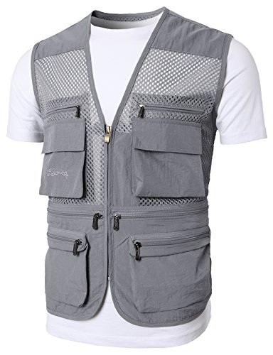 H2H Mens Casual Work Utility Hunting Travels Sports Vest with Multiple Pockets Charcoal US 2XL/Asia 3XL (KMOV0149)