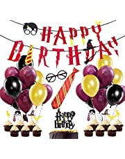 Wizard Party Supplies, Wine Red Happy Birthday Banner, Striped Tie, Wizard Glasses, Cake Toppers for Magic Wizard Birthday Party Decorations
