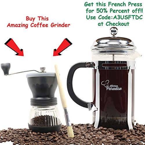 Kitchen Paradise Best Manual Hand Coffee Grinder Mill is Easy to Use and Clean, Dishwasher Safe, Lightweight & Portable with Adjustable Ceramic Burr for Custom Coarse or Fine Grind, Makes a Great Gift (Kitchen Aid Coffe Grinder compare prices)