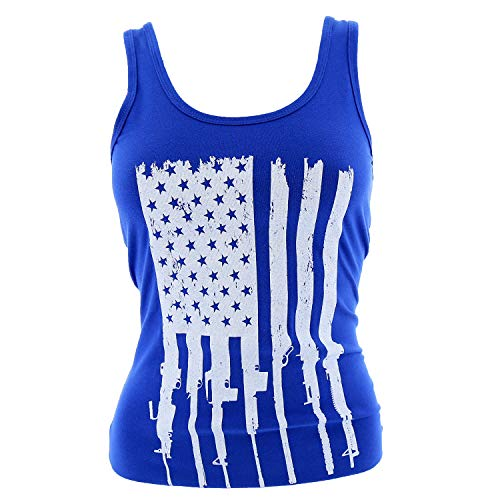 Grunt Style Rifle Flag Ladies Tank Top, Color Blue, Size Small