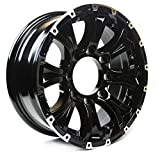 Viking Series Machined Lip Gloss Black Aluminum HD Trailer Wheel with Chrome Cap - 16'' x 6.5'' 8 On 6.5 - 4450 LB Load Carrying Capacity - 0 Offset