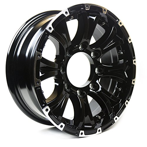 (Viking Series Machined Lip Gloss Black Aluminum Trailer Wheel with Chrome Cap - 15