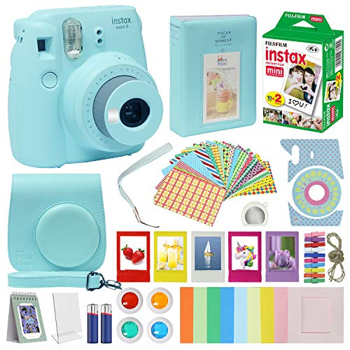 Fujifilm Instax Mini 9 Camera Ice Blue Accessory kit for Kids Fuji Instax Mini 9 Camera Includes Instant Camara Fuji Instax Film 20 Pack Instax Case with Strap Instax Album + Frames Lenses + More ...