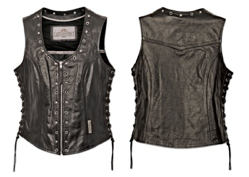 UPC 681676368023, Milwaukee Motorcycle Clothing Company Front Zip Ladies Vest with Studs and O Rings Lace Sides (Black, Medium)