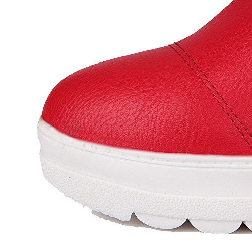 AllhqFashion Mujeres Sin cordones Tacón Medio Pu Sólido Caña Baja Botas Rojo