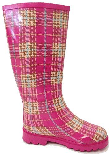 G4u Womens Regenlaarzen Meerdere Stijlen Kleur Midden Kalf Wellies Gesp Mode Rubber Kniehoge Sneeuwschoenen Roze Plaid