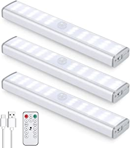 30LED Motion Sensor Closet Light Rechargeable, Wireless Under Cabinet Lighting with Remote, 350lm,Stick-on Portable Under Counter Shelf Magnetic Light Bar for Kitchen, Wardrobe (3Packs)