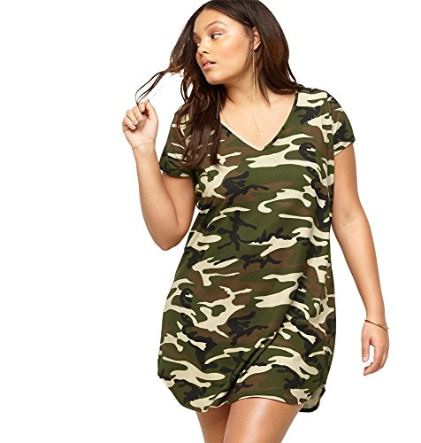 LORALETTE Women's Camo T-Shirt Dress, 1X Green Print
