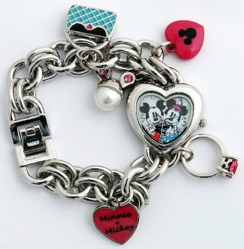Charm Bracelet Watches: Disney Minnie & Mickey Mouse Women's MN2054 Heart Dial