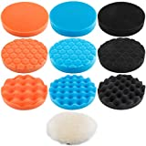 Augshy 10Pcs,6 inch Car Foam Drill Polishing Pad Kit,3 Styles Buffing Pads¡­