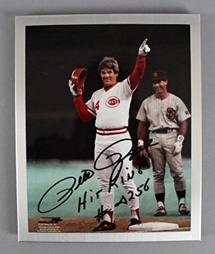 Pete Rose Signed Photograph - 810 -- COA 100% Team - Autographed MLB (810 Roses)