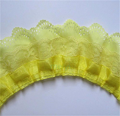 5 Yard 3-Layer Pleated Organza Lace Edge Gathered Mesh Chiffon Trim Ribbon 65mm Width Vintage Style Edging Trimmings Fabric Embroidered Applique Sewing Craft Wedding Bridal Dress Party Decor(Yellow)