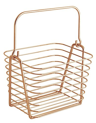 InterDesign Classico Kitchen Pantry Bath Wire Basket Tote with Handle, Small, Copper